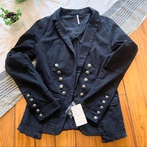 Free People Black Military Jacket w/Silver Buttons